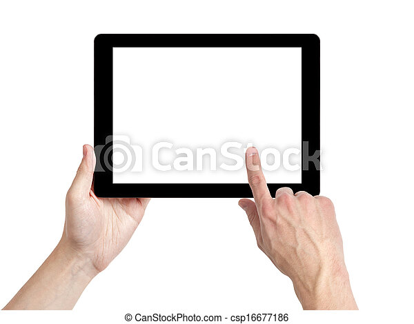 adult man hands using tablet pc with white screen - csp16677186