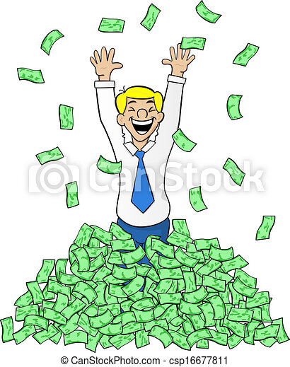 business man with a pile of money - csp16677811
