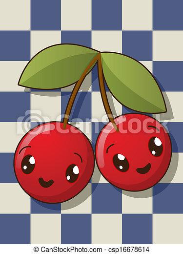 Clipart vettoriali di kawaii ciliegia icone kawaii for Immagini disegni kawaii