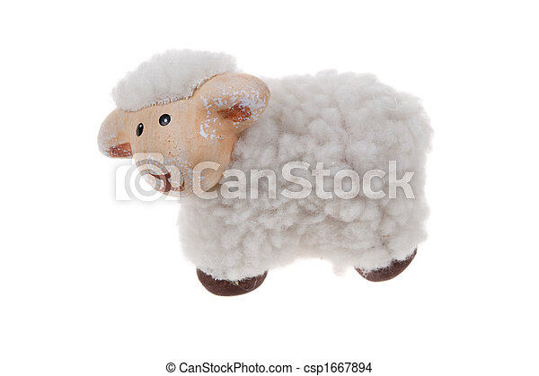 cute sheep toy isolated - csp1667894