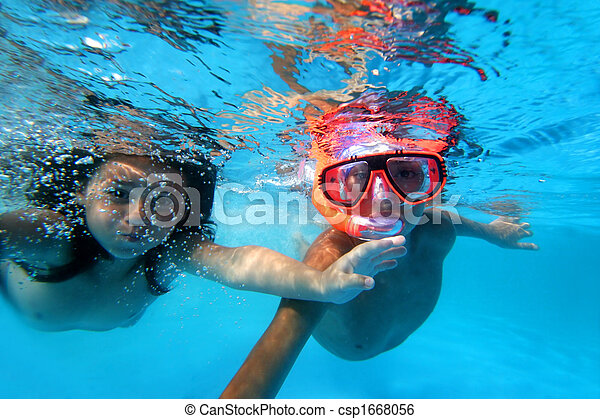 Stock Image Of Kids Swimming Underwater In Pool