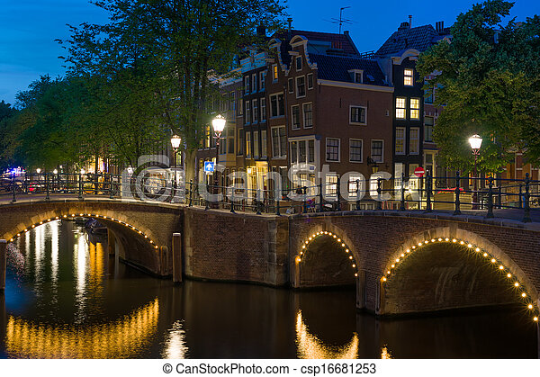 Bridges in Amsterdam at night - csp16681253