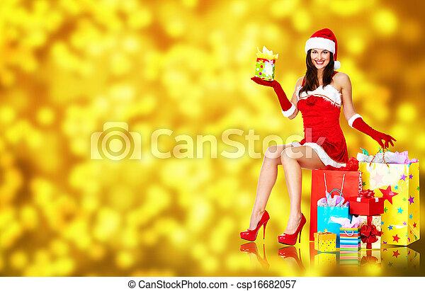 Girl with Christmas gifts.