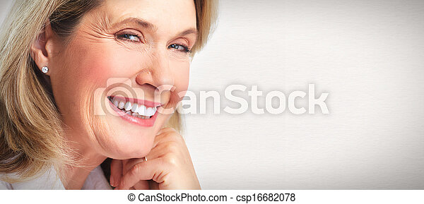 シニア, 女, 肖像画 - csp16682078