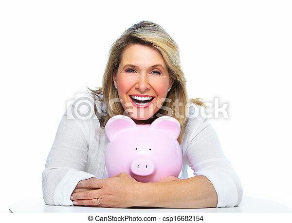 Elderly woman with piggy bank. - csp16682154
