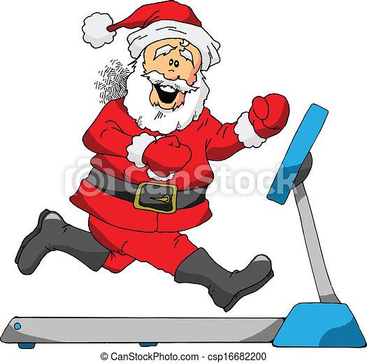 Vector Clipart of Santa on a Treadmill - A Cartoon of Santa ...