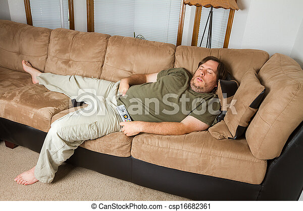 Stock image of man asleep on the couch fat man sleeping for Couch you can sleep on