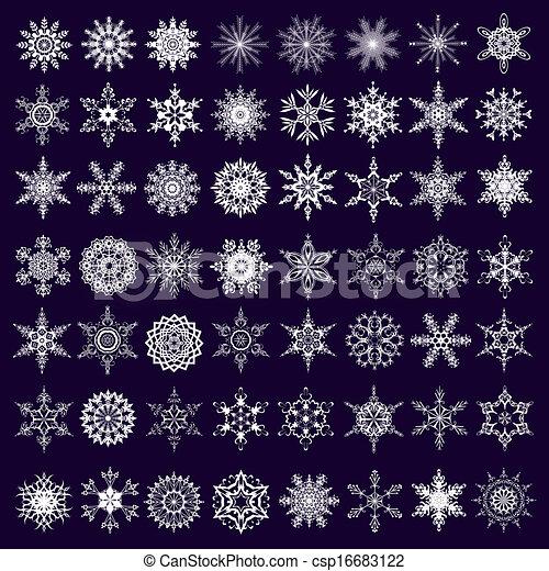 Big set of white snowflakes isolated - csp16683122