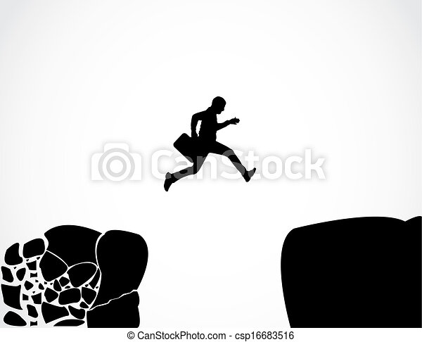 Businessman with a briefcase jumping from a crumbing mountain rock to another safer rock Concept design vector illustration art of reaching safety from an risky unsafe business environment - csp16683516