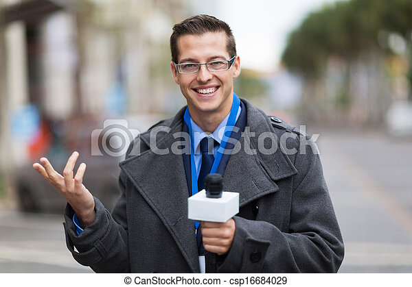 weather reporter in live broadcast