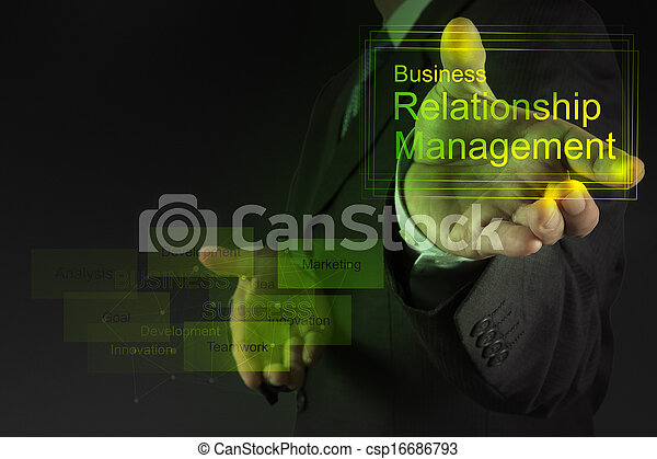 Businessman hand show business relationship management on the new computer interface as concept - csp16686793