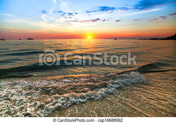 Sunset over ocean, nature composition. - csp16688062