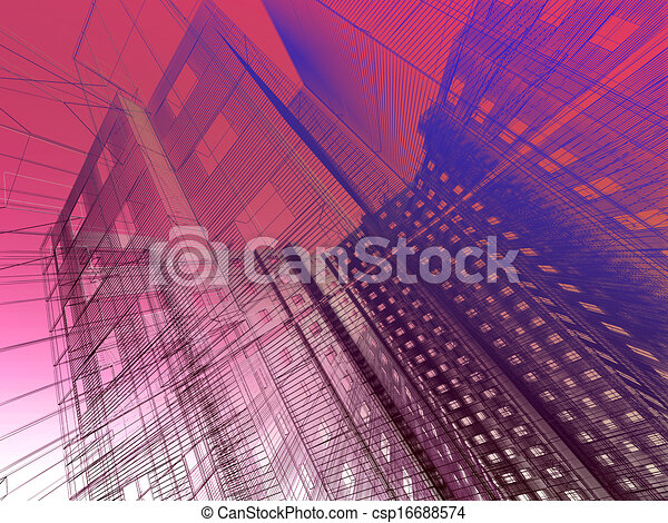 abstract modern architecture  - csp16688574
