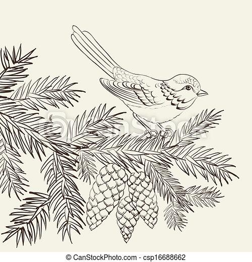 Bird on christmas fir and pinecone. - csp16688662