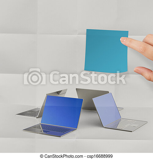 sticky note on crumpled paper with laptop computer sign as concept - csp16688999