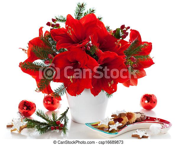 Picture of christmas arrangement of amaryllis red for Amarilis decoration