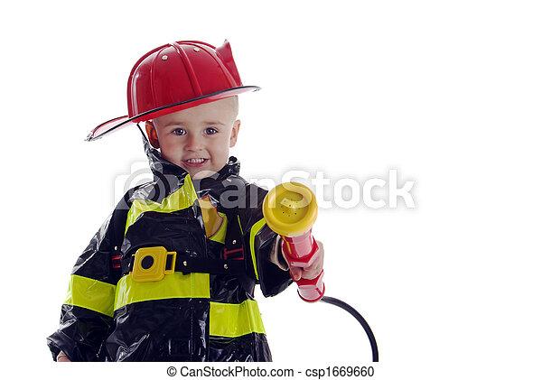 Little fire fighter toddler - csp1669660
