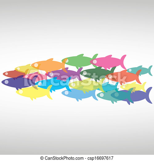 School Fish Drawing Vector Vector School of Fish