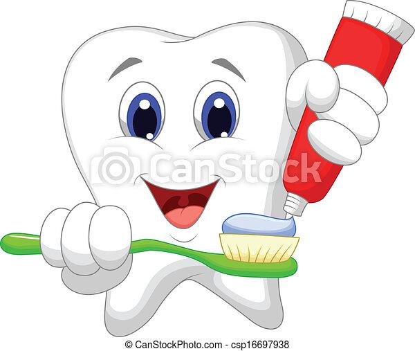 ... diente, caricatura, poniendo, diente, pasta, ella, cepillo de dientes