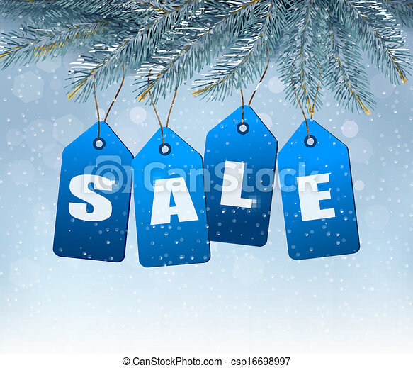 Holiday background with blue sale tags. Concept of discount shopping. Vector. - csp16698997