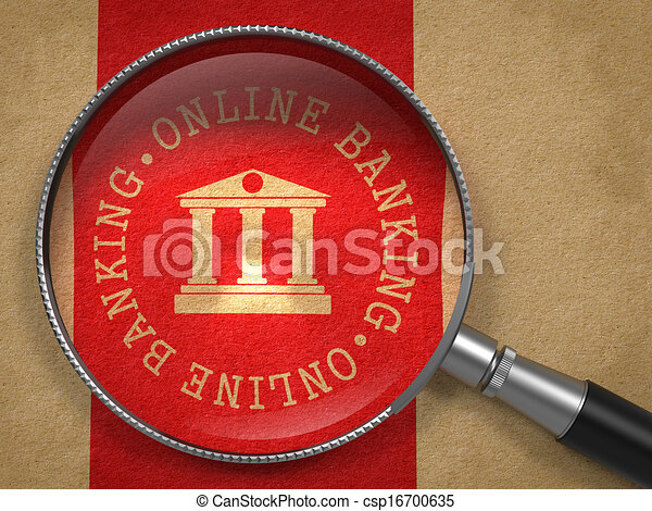 Magnifying Glass with Online Banking Concept. - csp16700635