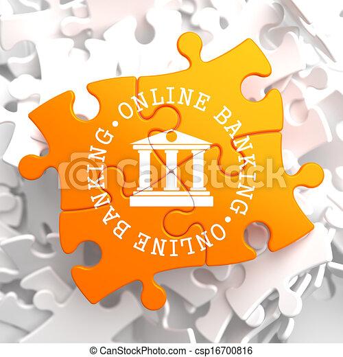 Online Banking Concept on Orange Puzzle. - csp16700816