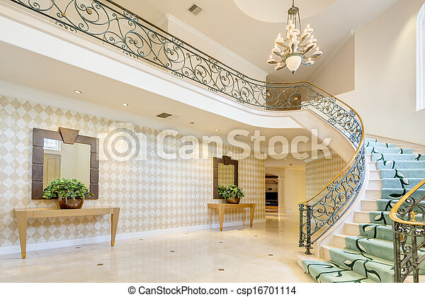 photographies de escalier couloir riche maison hallway et escalier csp16701114. Black Bedroom Furniture Sets. Home Design Ideas