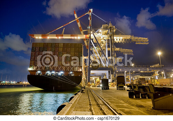 cargo ship by night - csp1670129