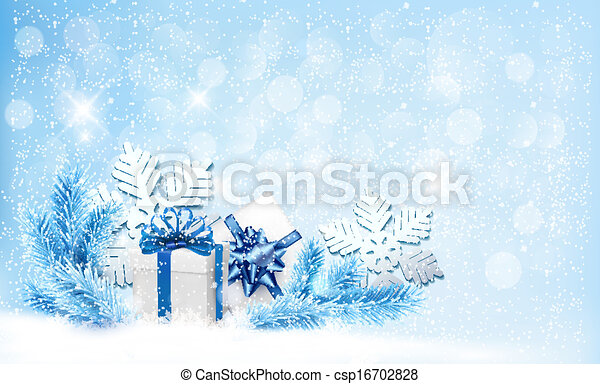 Christmas blue background with gift boxes and snowflakes. Vector - csp16702828