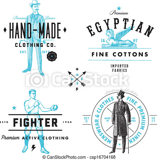 clip vector of vector vintage clothing label and badge