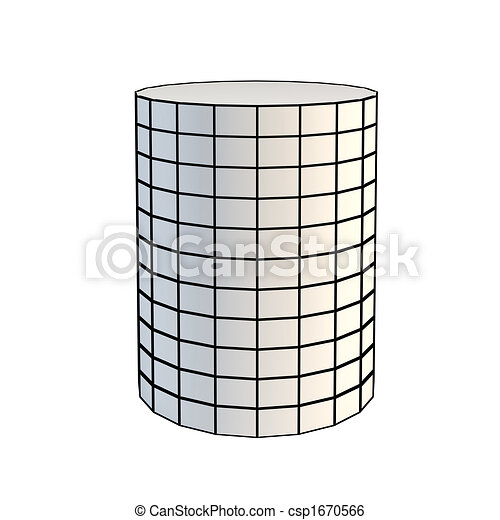 faceted white 3d cylinder - csp1670566