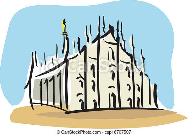 Vector Clipart of Milan (the Duomo of Milan ...