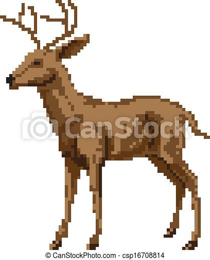 clip art vecteur de art cerf pixel illustration a pixel art style cerf csp16708814. Black Bedroom Furniture Sets. Home Design Ideas