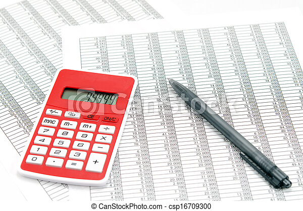 Calculator and ballpoint and Accounting documents - csp16709300