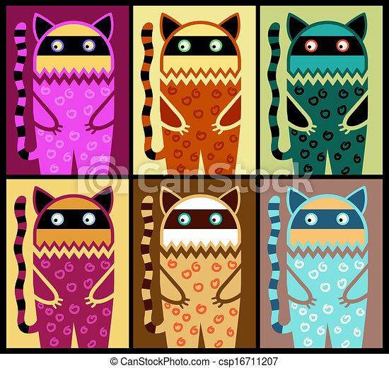 six colored fantasy cat pattern  - csp16711207