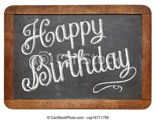 Happy Birthday on blackboard - csp16711759