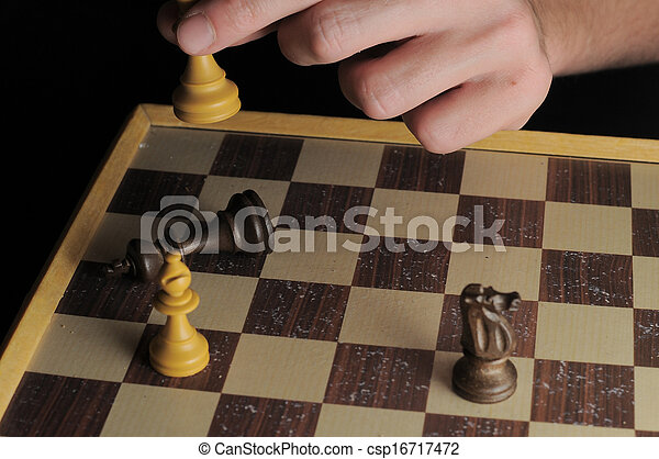 One Left Male Hand Playing Chess