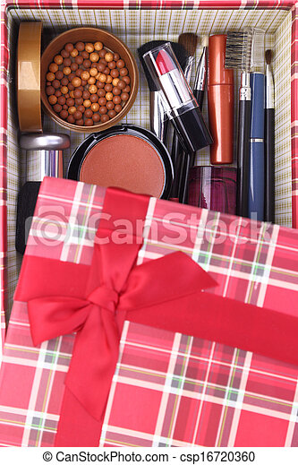 Present box with cosmetics inside