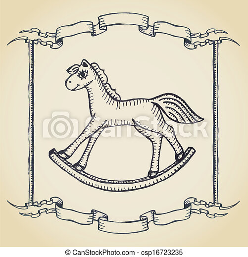 with wooden horse toy on parchment - stock illustration, royalty free ...