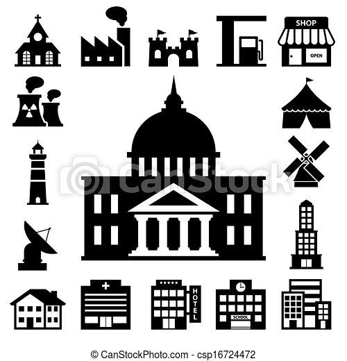 buildings icon set - csp16724472