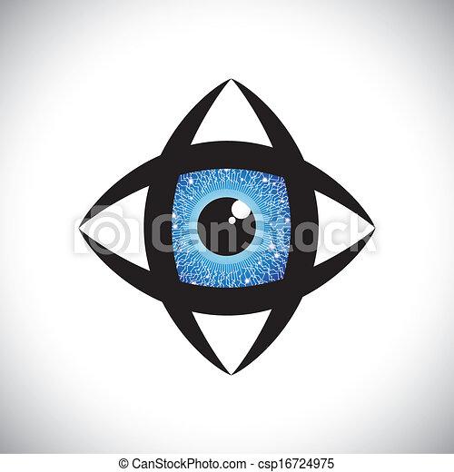 摘要, 色彩丰富, 人类, 眼睛, 图标, 电子, 电路, 虹, the, 矢量