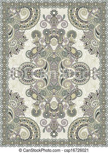 Vector illustration of ukrainian oriental floral for Drawing of carpet design