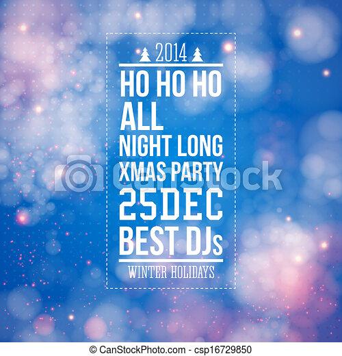 圣诞节, 党, 海报, 蓝色, 发亮, 背景 - csp16729850