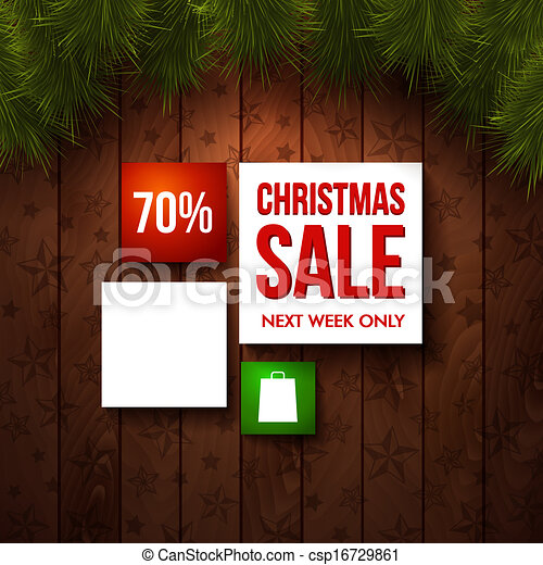 Christmas sale design template. Wooden background, realistic fir. Use it for Your winter holidays design. Vector illustration.  - csp16729861