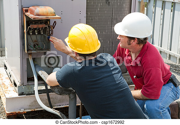 Stock Photo Of Repairing Industrial Air Conditioner Two