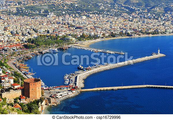 View of Alanya harbor form Alanya peninsula. Turkish Riviera - csp16729996