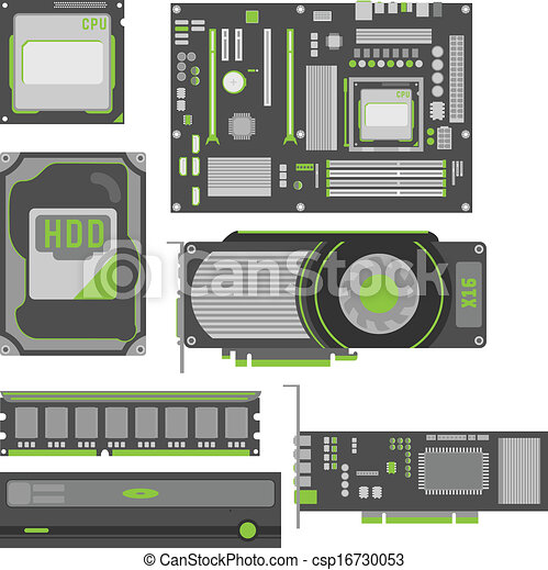 Computer Parts Logos Stylish Simple Computer Parts