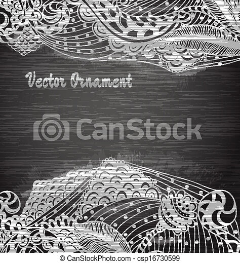 Vintage vector pattern.Chalk board. Hand drawn abstract background. Decorative retro banner.  Can be used for banner, invitation, wedding card,  scrapbooking and others. Royal vector design element. - csp16730599