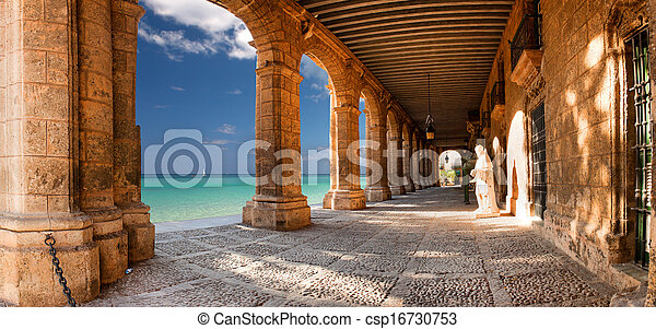Historic building with arches and statues - csp16730753