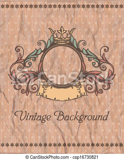 Decorative retro banner and grungy background.  Can be used for banner, invitation, wedding card,  scrapbooking and others. Royal vector design element. - csp16730821